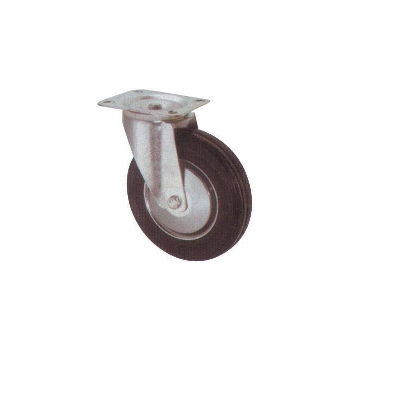 Swivel Rubber Wheel With Steel Body