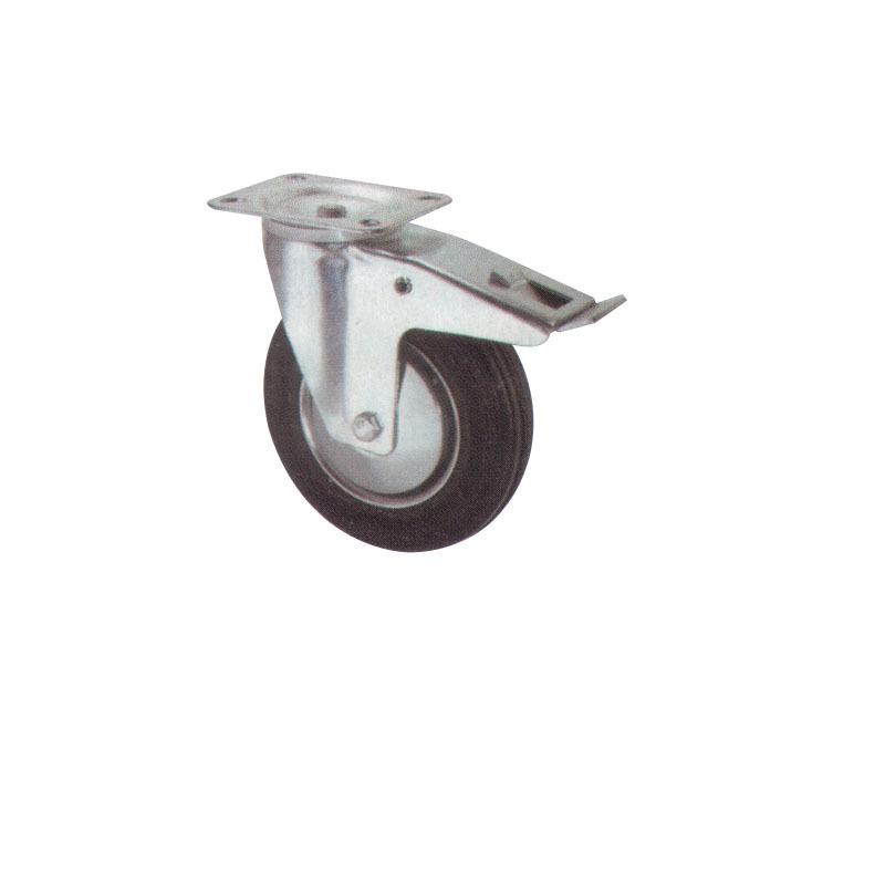 Double Brake Swivel Rubber Steel Caster Wheels