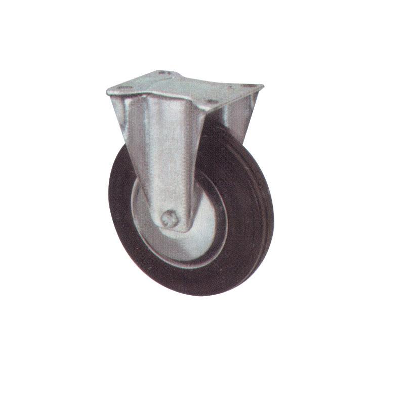 Heavy Duty Rigid Casters Rubber Wheel With Steel Body