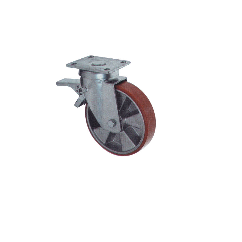 Double Brake Swivel Polyurethane Caster Wheel With Cast Al Body