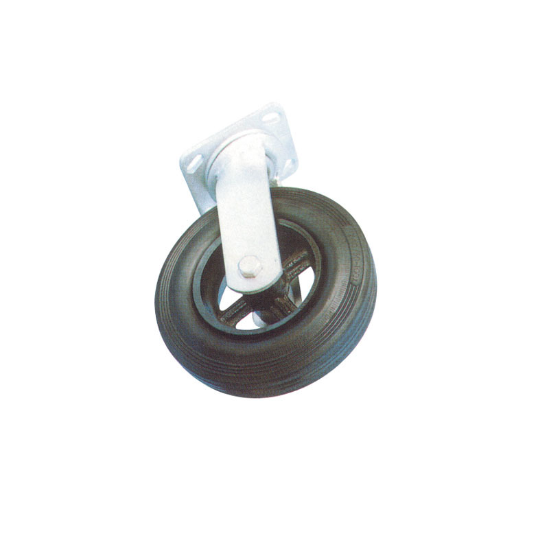 Heavy Duty Rubber Swivel Caster Wheels With Cast Iron Hub