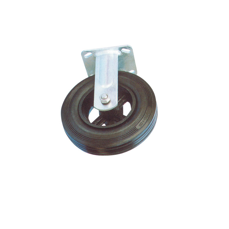 Heavy Duty Rigid industrial Rubber Caster Wheel With Cast Iron Hub