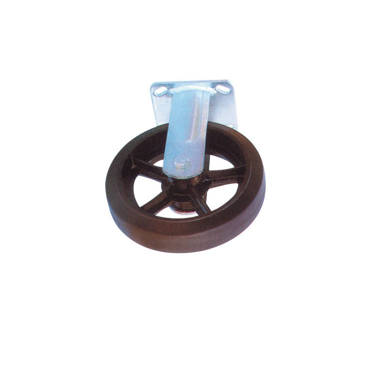 Heavy Duty Rigid Natural Rubber Wheels With Cast Iron Hub