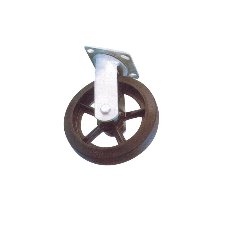 Heavy Duty Rubber Wheels Swivel Natural  With Cast Iron Hub